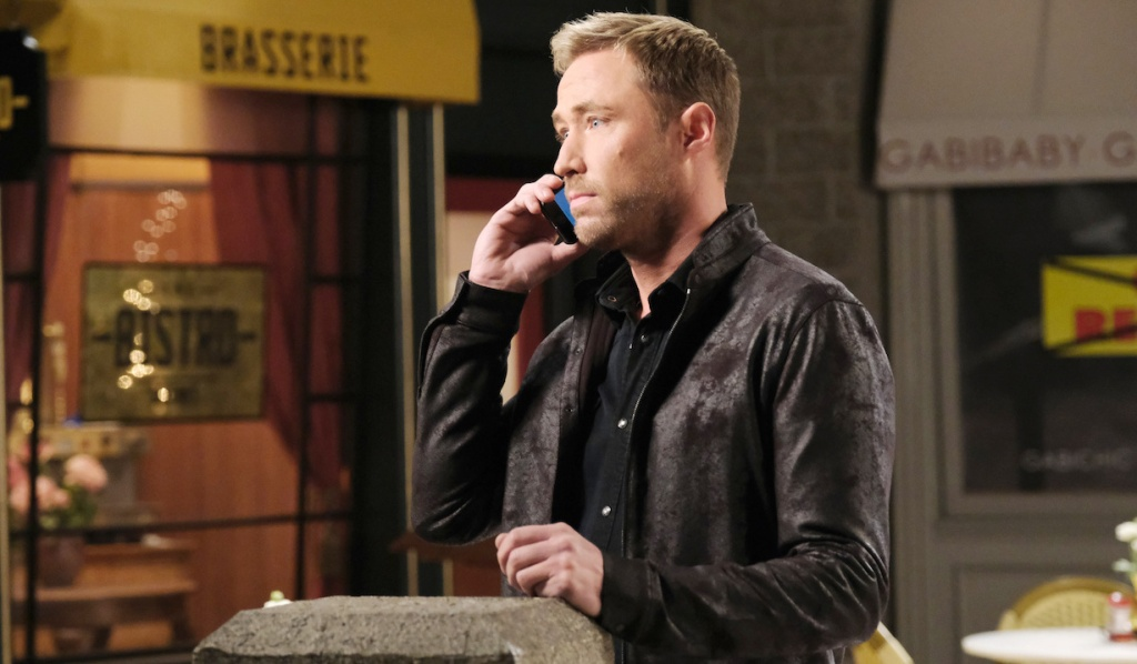 Rex on the phone in Horton Square on Days of Our Lives