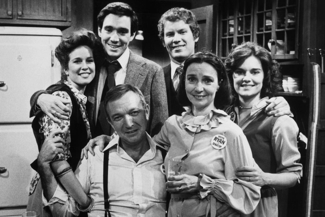 RYAN'S HOPE, clockwise from center seated: Bernard Barrow, Sarah Felder, John Blazo, Daniel Hugh-Kelly, Kathleen Tolas, Helen Gallagher (ca. 1978), 1975-89.