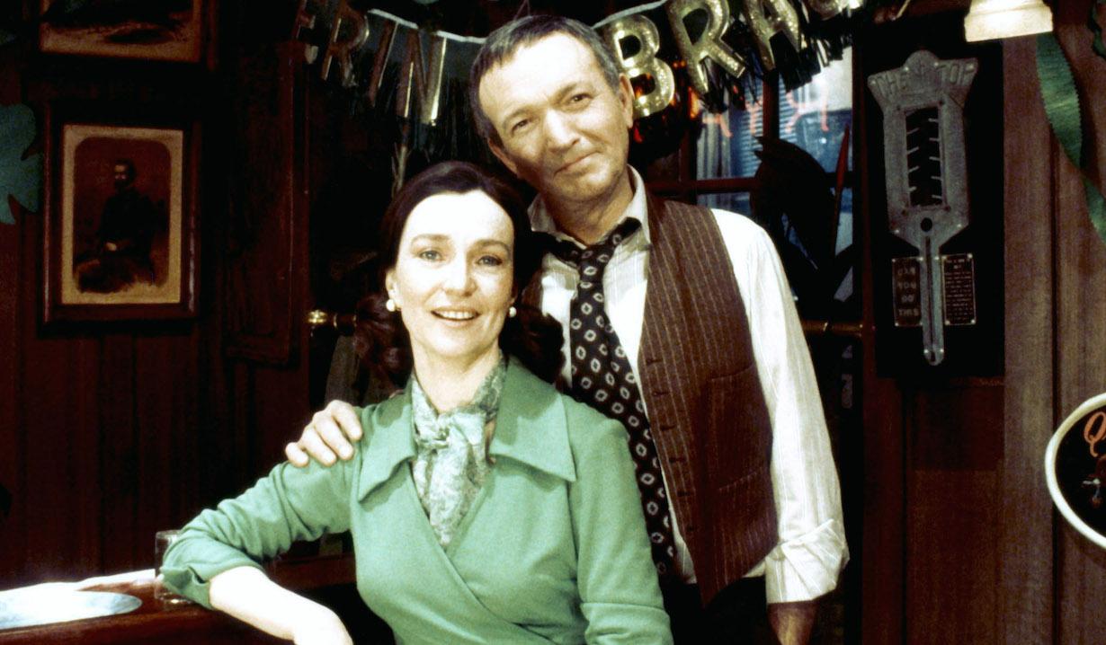 RYAN'S HOPE, from left: Helen Gallagher, Bernard Barrow, 1975-89.