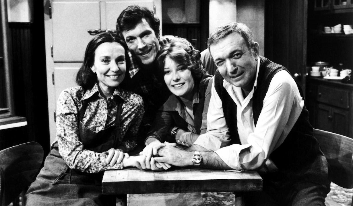 RYAN'S HOPE, from left: Helen Gallagher, Michael Levin, Nicolette Goulet, Bernard Barrow (ca. 1979), 1975-89.