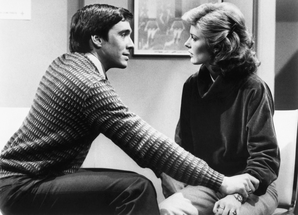 RYAN'S HOPE, from left: John Blazo, Karen Morris Gowdy (ca. 1979), 1975-89.