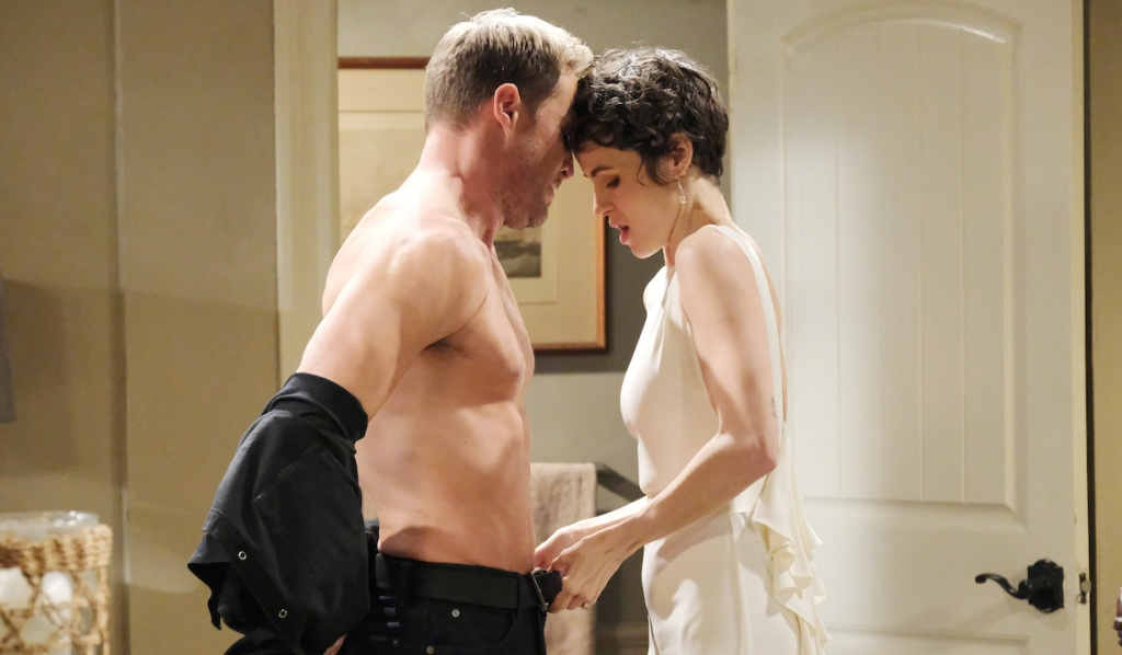 Sarah helps Rex undress on Days of Our Lives