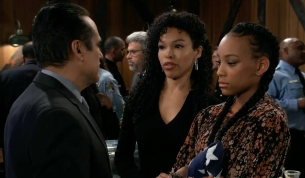Sonny offers condolences to Portia and Trina on General Hospital