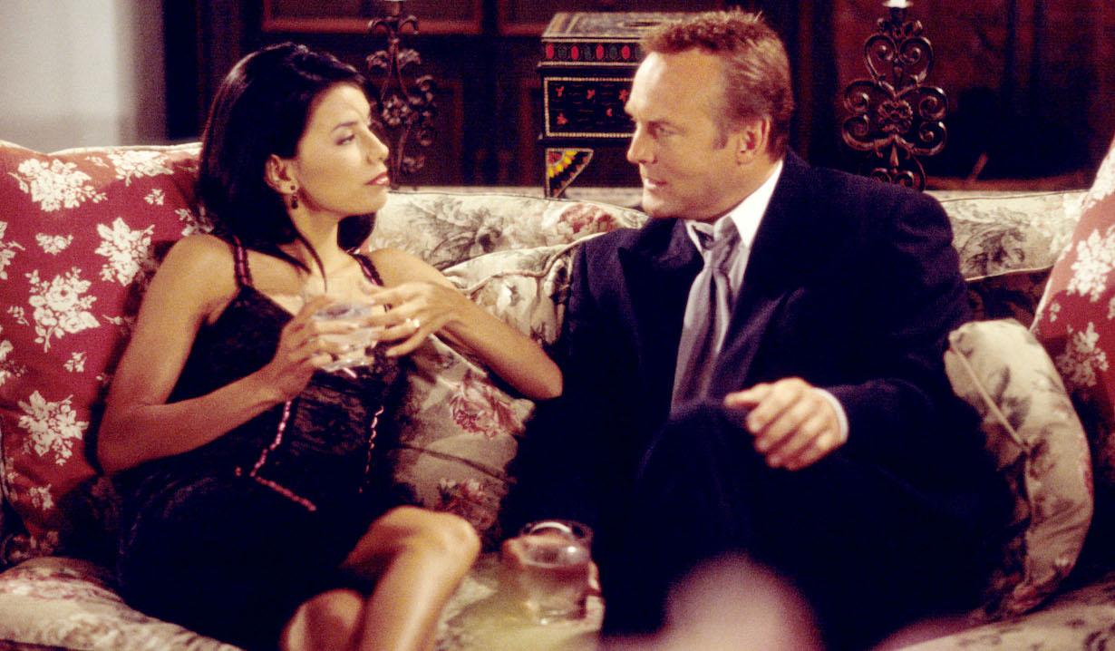 Eva Longoria and Doug Davidson Young and Restless set CBS Television City 7/8/02 © Aaron Montgomery/JPI 310-657-4181 Episode# 7440
