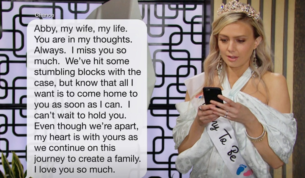 Abby text from Chance Y&R
