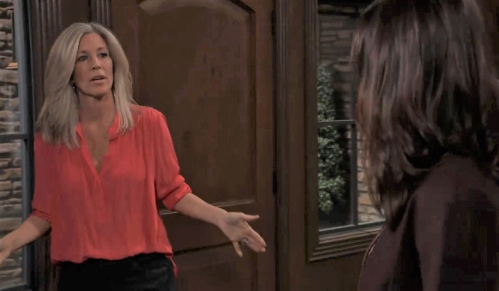 Carly in impatient with Anna and Valentin at Corinthos compound General Hospital