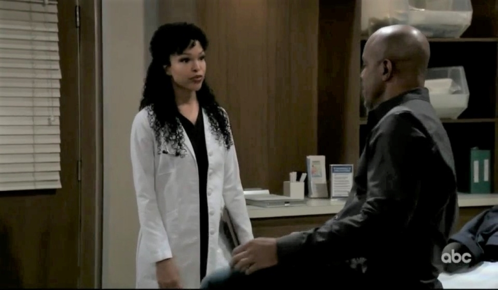 Portia and Taggert talk Trina at General Hospital