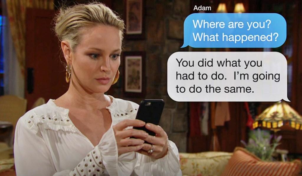 Sharon, Adam text Y&R