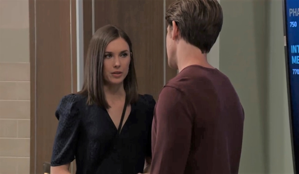 Michael and Willow talk at General Hospital