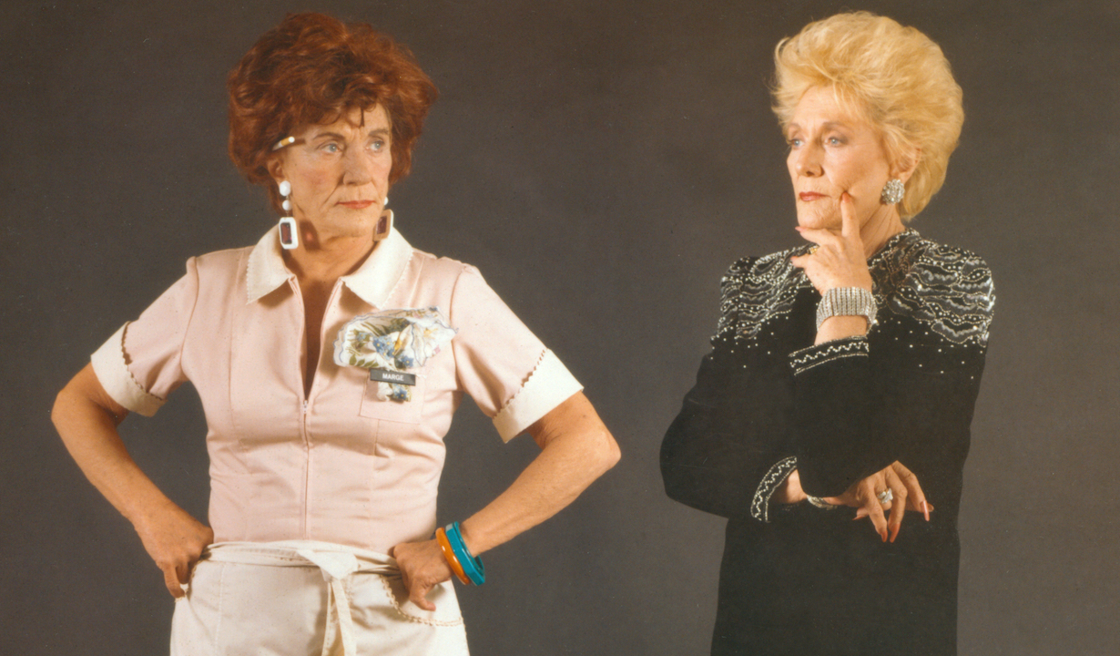 Jeanne Cooper in the dual role as Marge the waitress and Katherine Sterling in the CBS soap opera, The Young And The Restless in 1989. Copyright ©1989 CBS Broadcasting Inc. All Rights Reserved. Credit: CBS Photo Archive.