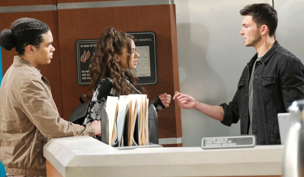 Ben holds Ciara's ring out to her on Days of Our Lives