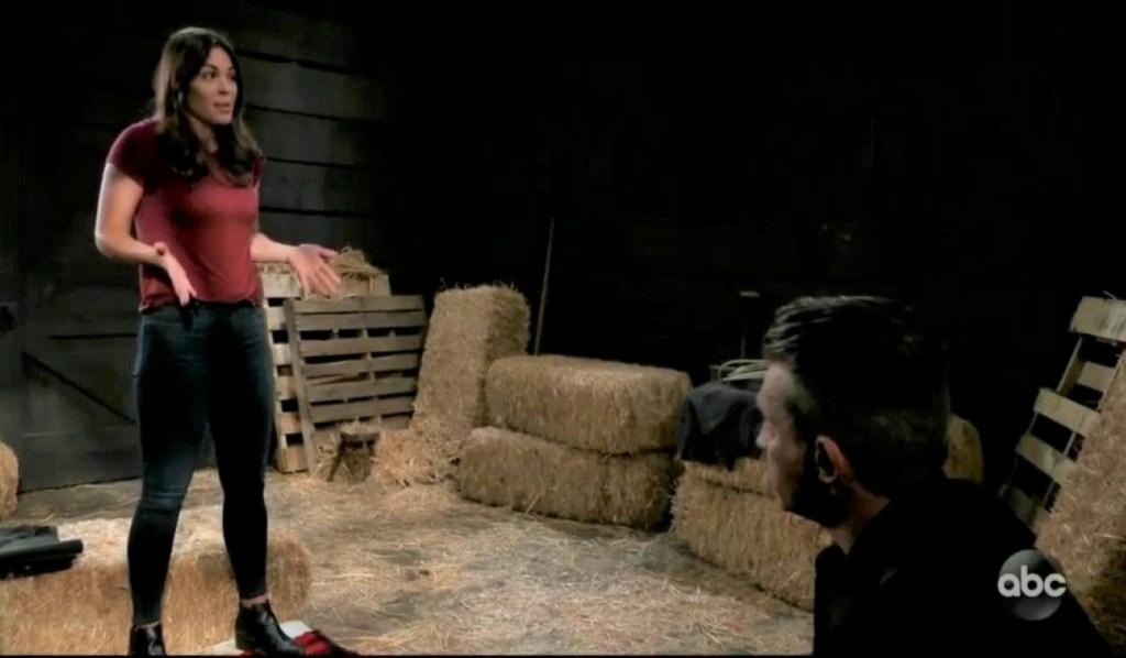 Britt complains to Jason in barn General Hospital