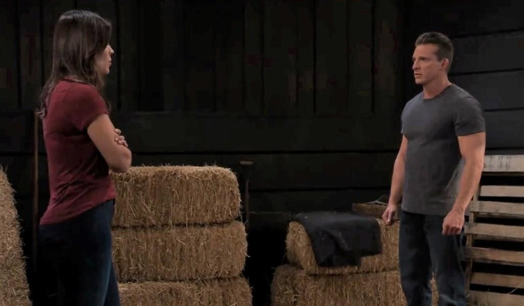 Britt tells Jason she may be sick in barn General Hospital