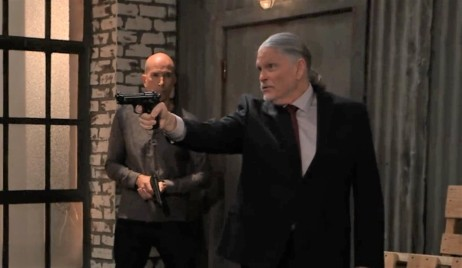 Cyrus points gun at Brando in warehouse General Hospital