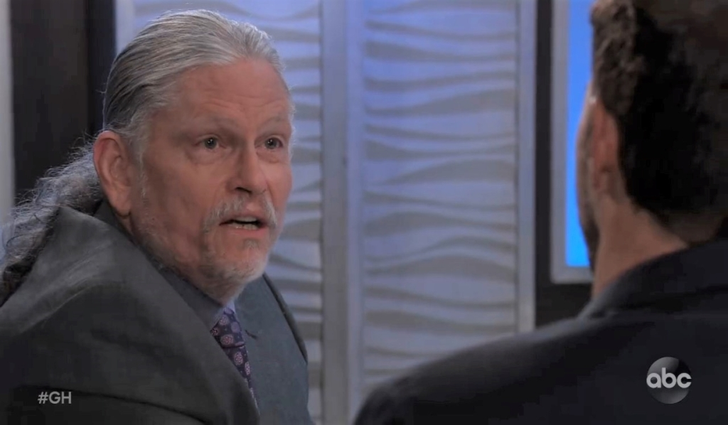 Cyrus warns Peter he'll be dead soon at Metro Court General Hospital
