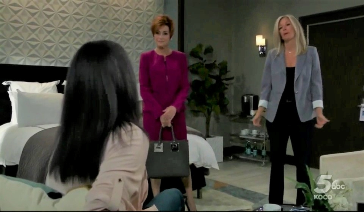 Diane and Carly tell Gladys plan at Metro Court General Hospital