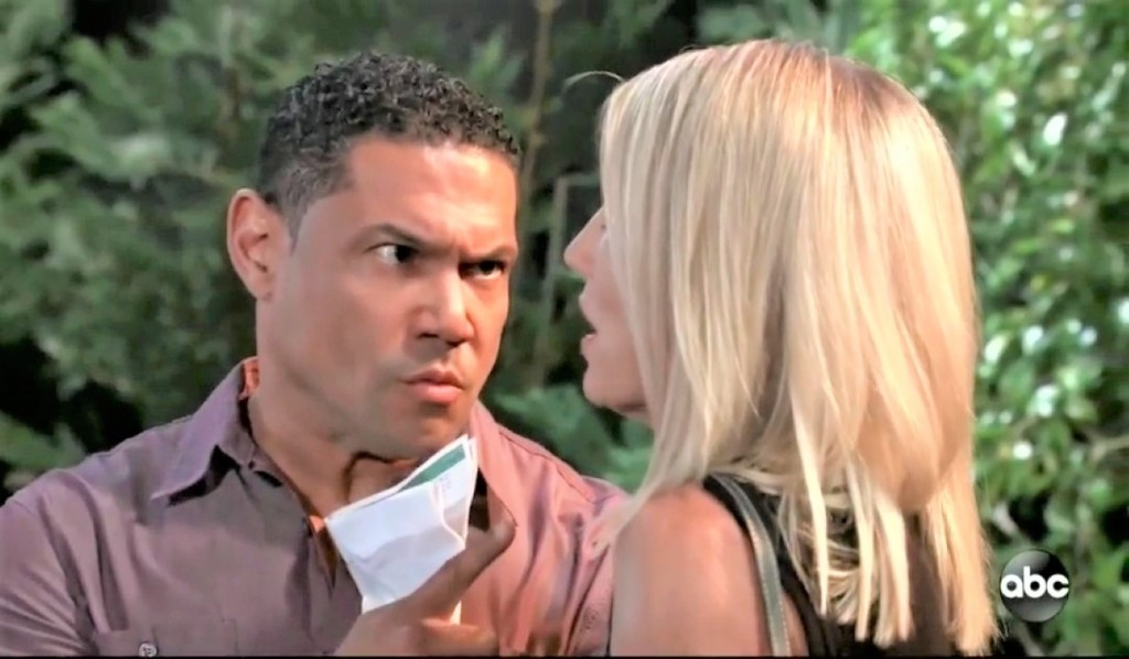 Elijah threatens Nina in park General Hospital