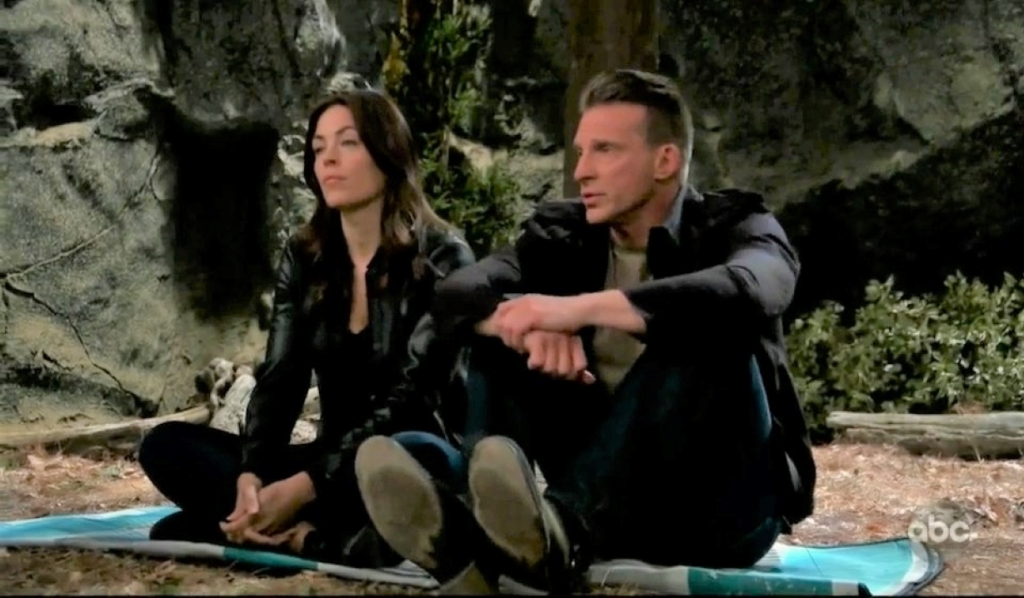 Jason helps Britt relax in the woods General Hospital