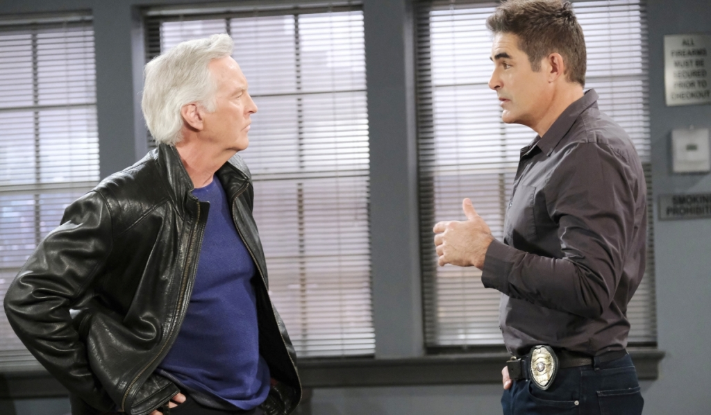 John and Rafe talk at Salem PD Days of our Lives