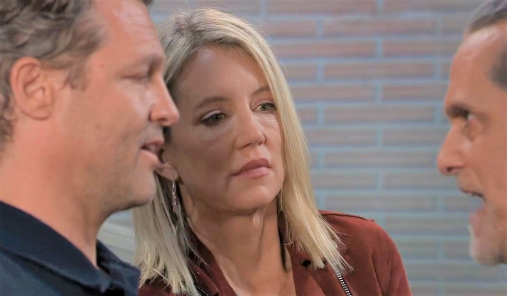 Nina gets between Sonny and Walter in alley General Hospital