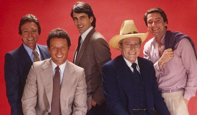 Soap opera stars, from left: Wayne Tippit, Christopher Bernau, Lee Godart, Philip Carey, Warren Burton, (early 1980s). ph: Sheldon Secunda/TV Guide/courtesy Everett Collection