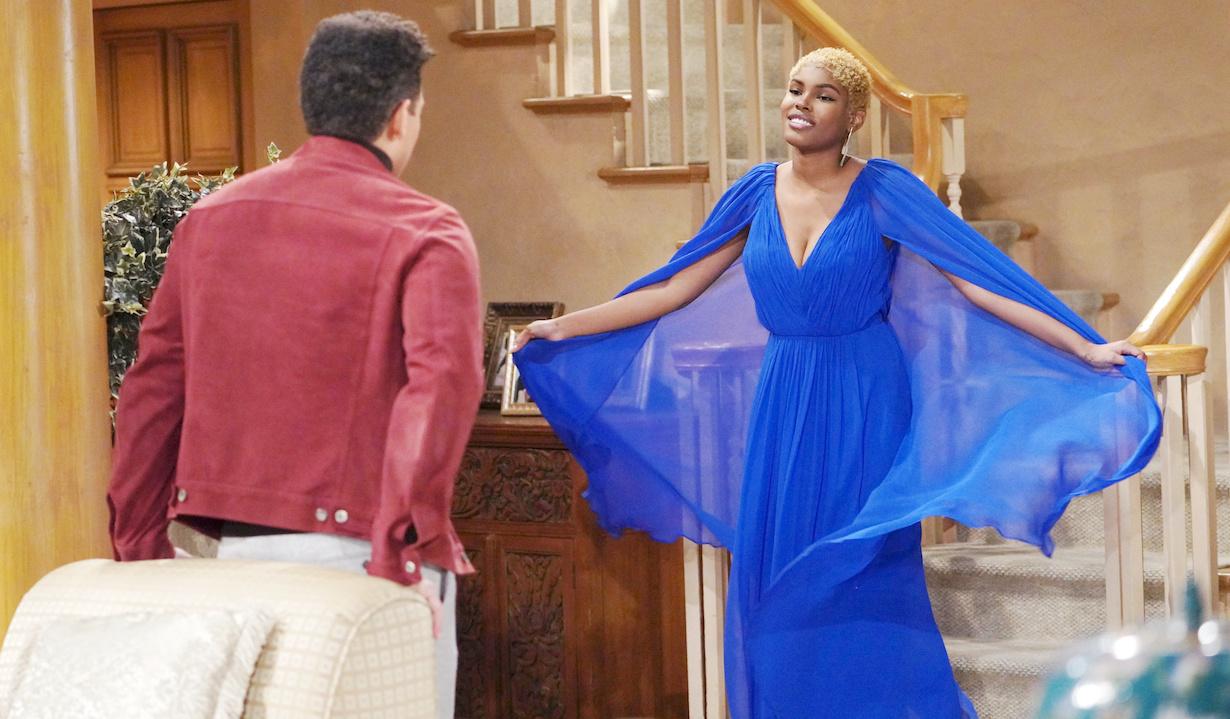 "Diamond White, Delon de Metz ""The Bold and the Beautiful"" Set CBS Television City Los Angeles, Ca. 01/15/21 © Howard Wise/jpistudios.com 310-657-9661 Episode # 8469 U.S.Airdate 03/05/21"