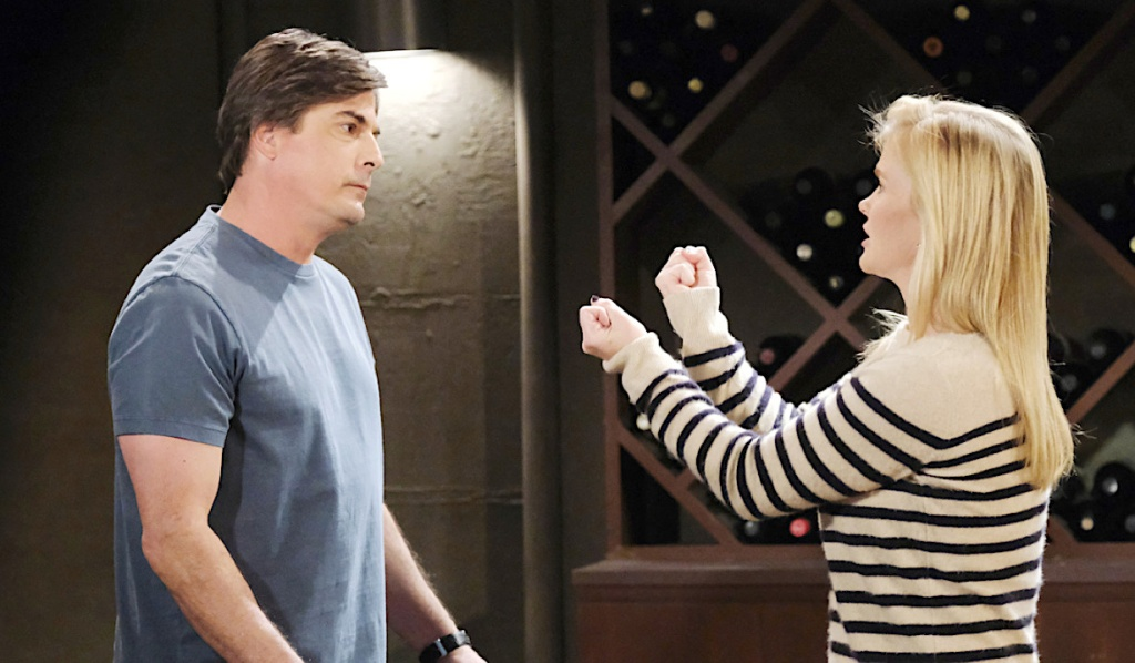 Lucas and Sami fight in the wine cellar on Days of Our Lives