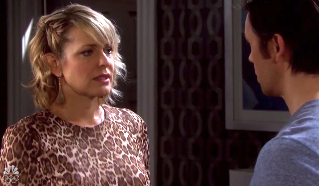 Nicole stressed looking at Xander on Days of Our Lives