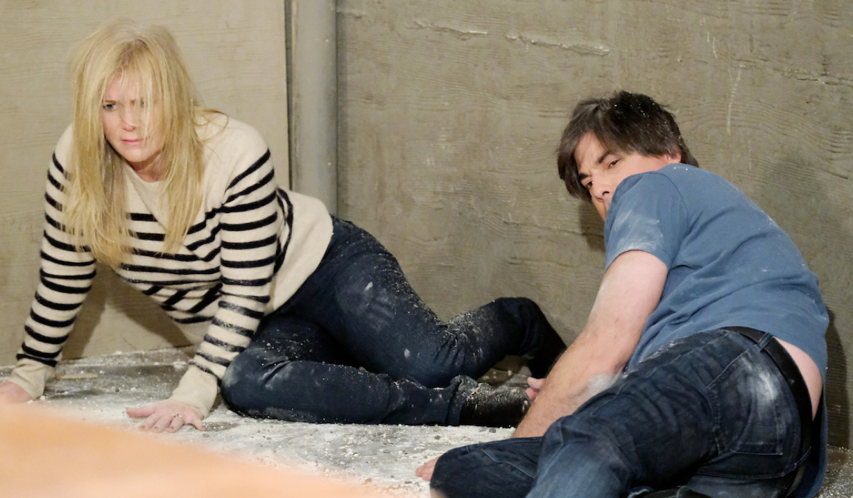 Sami and Lucas disheveled and disoriented on Days of Our Lives