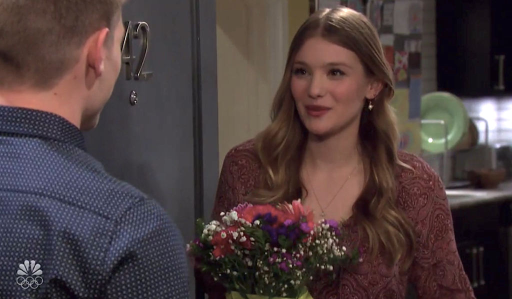Tripp gives Allie flowers on Days of Our Lives