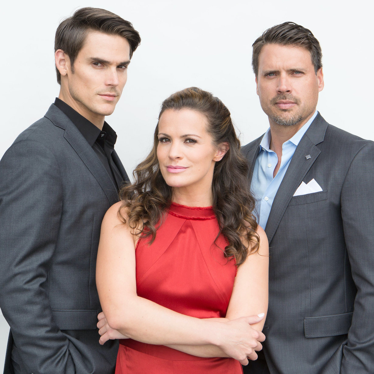 """Joshua Morrow, Melissa Claire Egan, Mark Grossman """"The Young and the Restless"""" Set adam nick chelsea"""