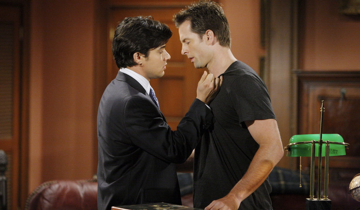 """Michael Muhney, Yani Gellman """"The Young and the Restless"""" Set CBS Television City Los Angeles 6/9/09 © Sean Smith/jpistudios.com 310-657-9661 Episode # 9184 U.S. Airdate 7/8/09"""