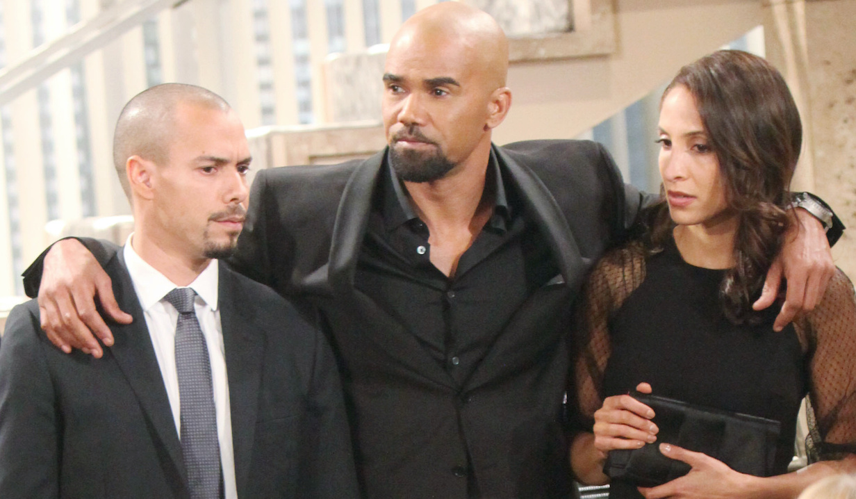 """Bryton James, Christel Khalil, Shemar Moore """"The Young and the Restless"""" devon lily malcolm neil funeral hw"""