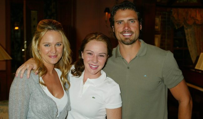 """Camryn Grimes, Joshua Morrow, Sharon Case """"The Young and the Restless"""" Set CBS Television City 7/11//05 ©Aaron Montgomery/jpistudios.com 310-657-9661"""
