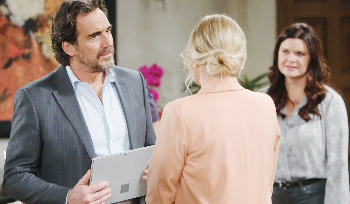 """Heather Tom, Thorsten Kaye, Katherine Kelly Lang """"The Bold and the Beautiful"""" Set CBS Television City Los Angeles, Ca. 02/13/20 © Howard Wise/jpistudios.com 310-657-9661 Episode # 8302 U.S.Airdate 03/31/20"""