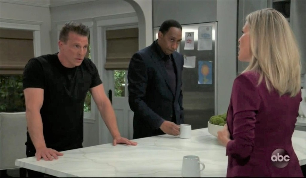 Brick counsels Carly and Jason at Corinthos house General Hospital