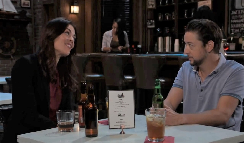 Britt and Spinelli chat at Charlie's Pub General Hospital
