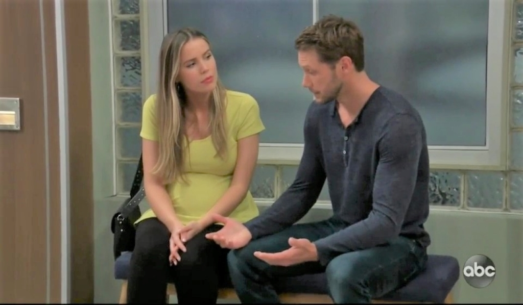 Sasha and Brando talk baby at General Hospital