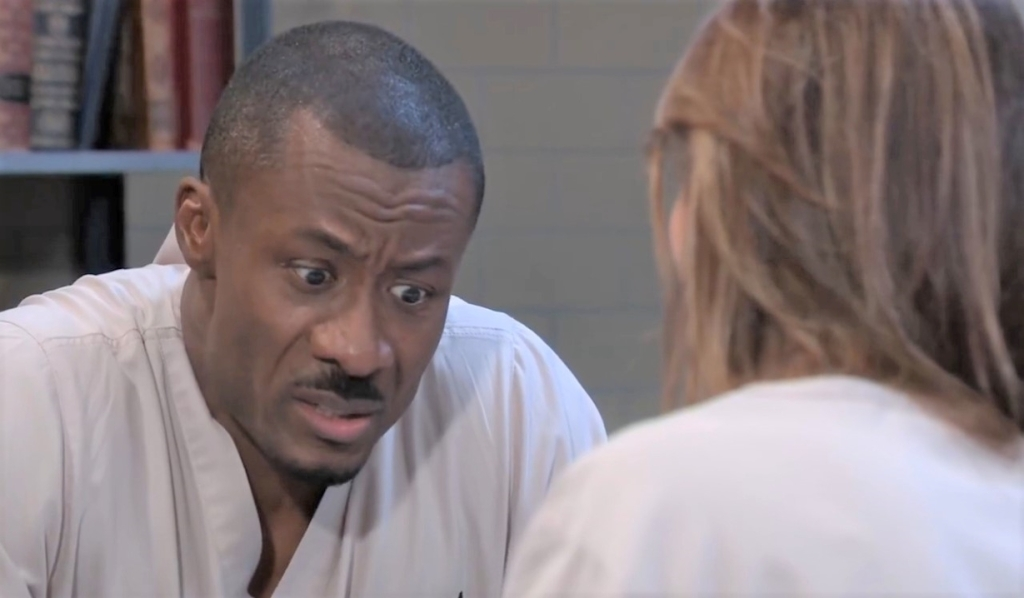 Shawn and Alexis discuss his case at Pentonville General Hospital