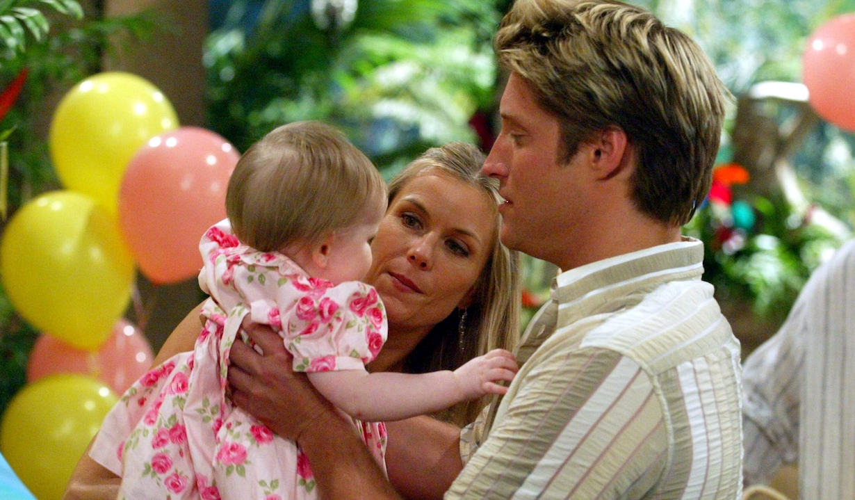 """deacon brooke Sean Kanan, """"Baby Hope"""" and Katherine Kelly Lang""""The Bold and the Beautiful"""" SetCBS Television City5/30/03©Jesse Grant/JPI310-657-9661Episode# 4081"""