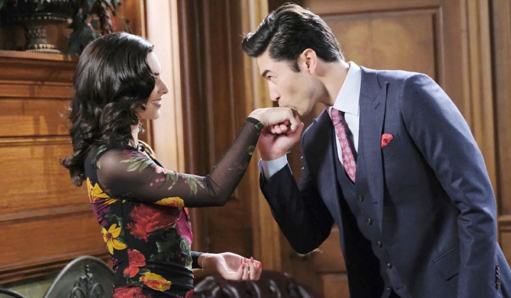 Li Shin kisses Gabi's hand on Days of Our Lives