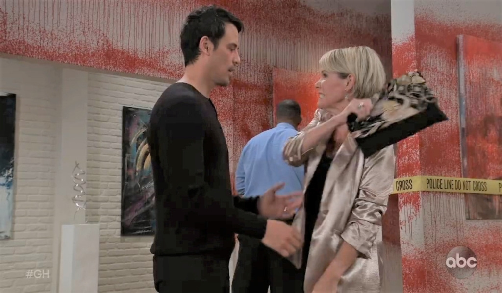 Ava slaps Nikolas at the gallery General Hospital