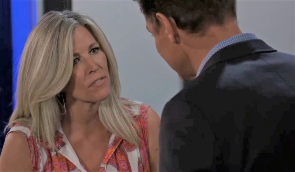 Carly and Jax argue about Britt at Metro Court General Hospital