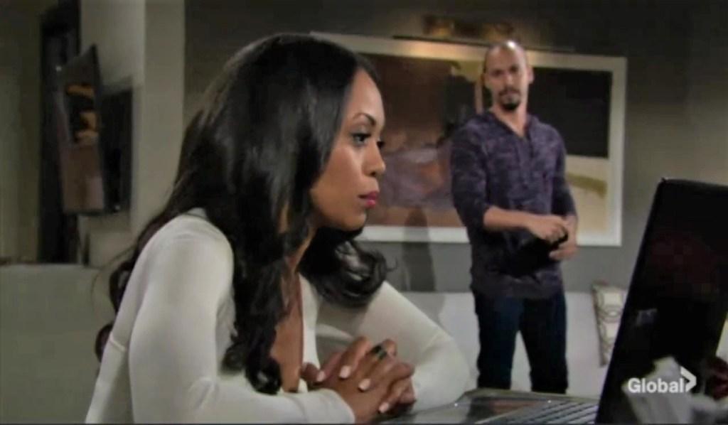 Amanda and Devon talk case at her place Y&R