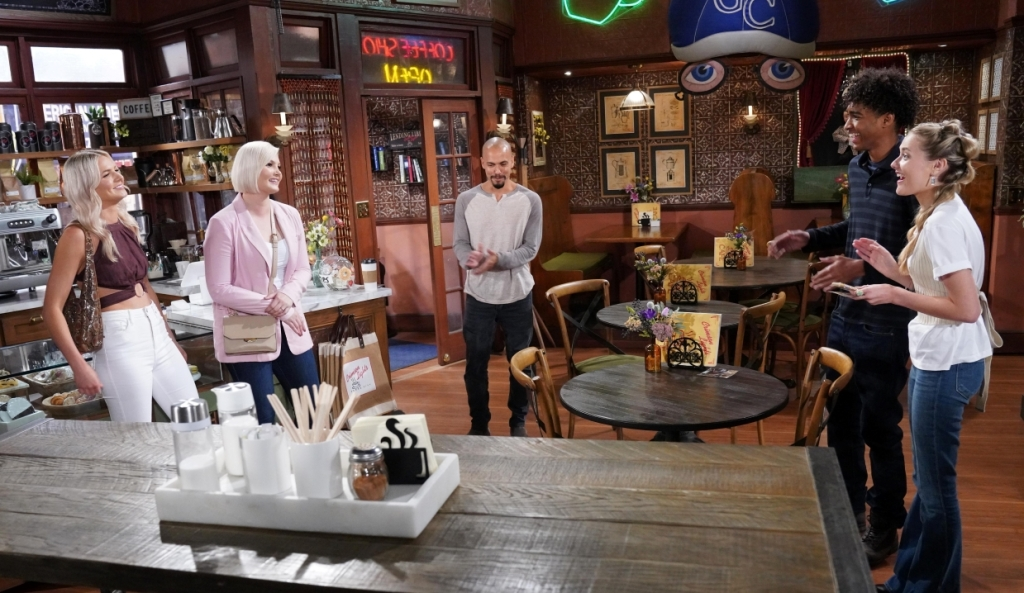 Devon, Faith and Moses chat to Tigerlily at Crimson Lights Y&R