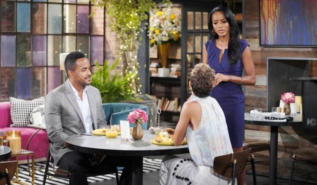 Imani interrupts Nate and Elena at Society Y&R