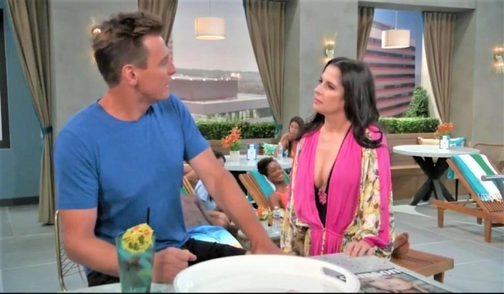 Sam and Jax discuss Alexis at pool General Hospital
