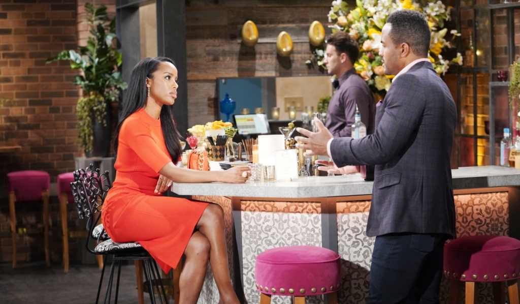Nate chats with Imani at Society Y&R