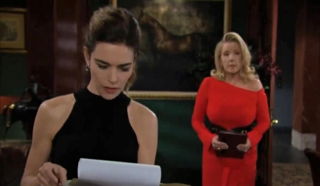 Nikki worries to Victoria in office Y&R