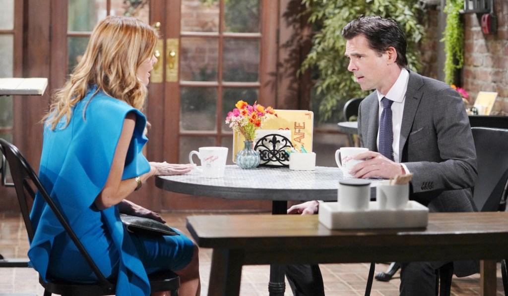 Phyllis and Billy discuss Tara at Crimson Lights Y&R